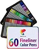 60 Feutres à pointe fine pour coloriage Zenacolor - 60 couleurs uniques (aucune en double) - Stylos FineLiner 0.4mm - ...