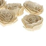 6pcs Vintage Fleur Rose en Toile de Jute Decoration pour Mariage Champêtre