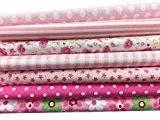 7pcs XL 50cm*50cm haut coton agréable Ensemble Craft Tissu carrés patchwork Peluches DIY Couture Scrapbooking à motif floral Artcraft, rose,