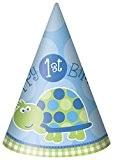 """8 châpeaux de fêtes en carton Tortue 1er anniversaire garçon """"Happy 1st Birthday"""""""