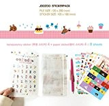 8 feuilles Cute Cat Sticker Deco Craft Stamp point autocollants en papier cadeau (Zoo Sticker Pack)