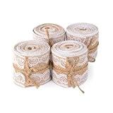 """Advantez 4-Pack 1.9 """"x 2Yards Rouleau de ruban Artisanat naturel Burlap avec dentelle blanche Bricolage Décoration de mariage de fête ..."""