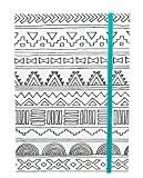 American Crafts Hall Pass adulte Coloriage Cahier avec bande élastique 12,7cm x 17,8cm avec tribal bleu sarcelle, acrylique, multicolore, 3pièces