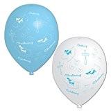 Amscan Lot de 6 ballons gonflables pour baptême Bleu/blanc