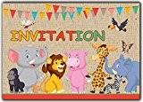 Animaux Lot de 10 cartes en francais d'invitation pour un Anniversaire Enfant fille Adulte en francais