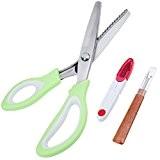Anpro Ciseaux à Dentelle Ciseaux de Triangle Acier Inoxydable Ciseaux Vert Couture Cranters Ciseaux Professionnel 24.3cm ,15 Dentées de 5mm ...