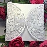 Anself 10pcs Carte d'invitation Romantique mariage Party enveloppe mariage fleurs sculptées délicates Blanc