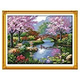 Anself 57 * 45cm Kits de broderie au point de croix DIY Kit main 14CT en motif de beau paysage ...