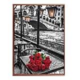 Anself DIY Manuel Diamant Tableau Set Rivière de Roses Résine Strass Collé Point de Croix pour la Décoration de Maison ...