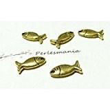 Apprêt 4 pendentifs poisson doré 3D P3118