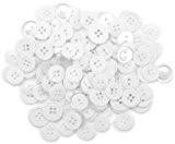 Apprêt préférée Bouton boutons, en plastique, blanc/transparent, 10-15mm, 40g
