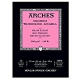 Arches Aquarelle Bloc 12 Feuilles 300 g Grain Satiné 23 x 31 cm Blanc Naturel