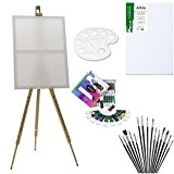 Artina Chevalet de campagne + Set de 28 pièces pour peinture acrylique inclus pinceaux toile peinture acrylique palette