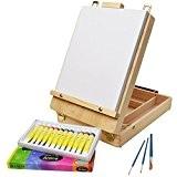 Artina® set de peinture complet acrylique Florenz de 17pcs idéal pour les loisirs - Chevalet de table + accessoires
