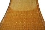 Artisanat indien vintage Saree pure khadi soie à la main perlé tissu décor beige Sari