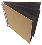 Artway Enviro - Grands Carrés de Papier / Carton Noir (Recyclé) 270gsm - Carnet à croquis avec Couvertures Rigide Naturelles ...