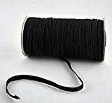 asentechuk® Noir Latex soie importations Fine Plat élastique corde élastique bande élastique Vêtements Vêtements Couture DIY Accessorie, noir, Width 3mm