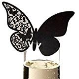 Au plaisir des yeux - Marque-place Papillon Dentelle noir (lot de 10)