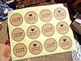 Autocollant rond -Handmade with Love & Made with love Stickers