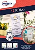 Avery Lot de 12 Menus Imprimables - 21x10cm -Impression Jet d'Encre - Blanc (C2358MC)