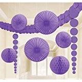 Balles en nid d'abeille kit décoration guirlande boules de papier lampions éventail rosace violet Balles pompons pour decorer déco d'ambiance ...