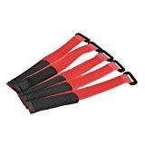 Bande magique - TOOGOO(R) 5x 27cm bande magique sangle auto-agrippante pour batterie Li-Po RC avion Rouge