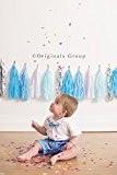 Bateau (assemblé et prêt à accrocher) Papier de soie bleu bébé avec guirlande de fanions pour bébé douche, mariage, fête ...
