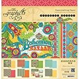 Bazar Bohème papier recto-verso bloc 12 « X 12 »-24 feuilles - 8 dessins/3 de chaque