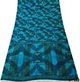 Blend DIY Dress Sari Vintage Abstract Blue Printed Wrap Drapé soie recyclé tissu bleu Saree YD