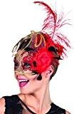 Boland 00281-Venezia avec fleur et plumes Masque de cygne, Rouge