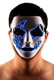 Brinny LED Light EL Make Up Dance mascarade Hip-hop Mask Halloween Comédie Tragédie Adulte clown costume masque Anime Cosplay Déguisement ...