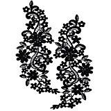 Broderie Autocollante en Dentelle pour Décoration de Col Robe Mariage Femmes - Noir, XL