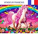 Broderie diamants dessin enfants kit complet (le cheval 40 x 31)