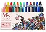Brush Pen Refill Pack - 12 couleurs - Idéal pour adultes Livres à colorier, Manga, Comics, Calligraphie, Design et Mode ...