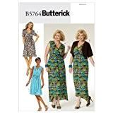 Butterick Patterns b5764Taille RR 18pour Femme Grandes Tailles Boléro, robe et ceinture, Lot de 1, Blanc
