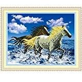 bysor (TM) Mode DIY 5D Peinture acrylique strass Décoration Diamant Animal Diamant broderie cheval au galop Needlework Kit point 45x ...