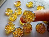 Cabochons 16mm rond doré zircon ab à coudre perles résine strass à coudre 1002trous boutons pression pierres