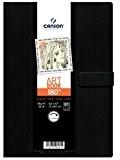 Canson Livre de dessin Cahier avec ouverture à plat 21,6 x 27,9 cm 80 feuilles Noir