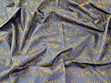 Chats Ligne Dessin imprimé Tissu en popeline de coton Moutarde sur Gris-au mètre