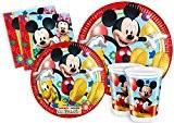 Ciao Lot de vaisselle de fête La Maison de Mickey pour 24personnes (112pièces?: 24grandes assiettes, 24assiettes moyennes, 24verres, 40serviettes) Y2495