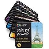 Colore Crayons de couleur - Ensemble de 72 crayons de couleur prime Pré-taillés pour dessiner des pages à colorier - ...