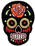 colorés des roses de crâne noirPunk Patch ''6,5 x 9,3 cm'' - Écusson brodé Ecussons Imprimés Ecussons Thermocollants Broderie Sur ...