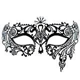 Coxeer Masque vénitien Mascarade Masque Halloween Princesse Masque visage femme (Noir)