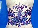 Cristaux à la main Garniture Patches Coudre Paillettes Perles Violet Strass Applique 43 * 19 cm pour Top Robe Jupe ...