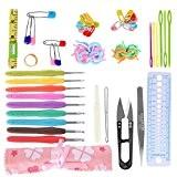 Crochet Aiguilles à Tricoter Kit 30 pcs Accessoires Tricotage d'Outils à Tricoter Aiguilles à Crochet avec Étui