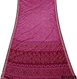 Cru Indien Sari Soie Mélangé Recyclé Rideau Drapé Mauve Imprimé Sari 5 Yard