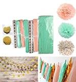 cutadorns Lot de 23Menthe Pêche soie paillettes or papier de soie Pom Pom Pom Pom Avec Papier Guirlande en papier ...