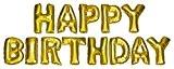 DEKOREX ® HAPPY BIRTHDAY Ballon gonflable Guirlande de lettres et brillants feuille de ballons de 40cm ballon d'hélium Décoration or