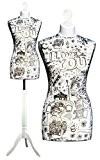 Deubl Schneiderpuppen Emma Buste de couture en mousse de polystyrène expansé rigide Réglable en hauteur Avec pied en bois blanc ...