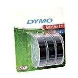 Dymo S0847730 Etiquettes de Marquage en Vinyle, Rouleaux de 9 mm x 3 m, Embossage Blanc sur Autocollant Noir (Lot ...